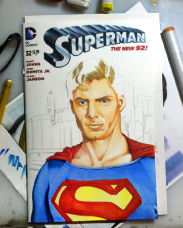 Christopher Reeve sketch cover WIP