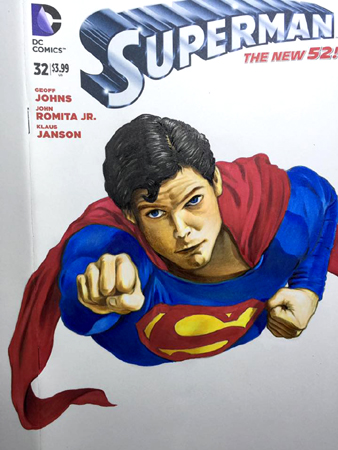 Superman front cover in progress 4