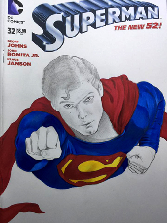Superman front cover in progress 3