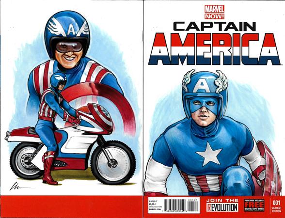 Reb Brown TV Captain America back/front sketchcover