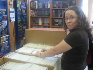 Nikci looking for back issues at The Great Escape
