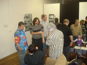 Joe, Gina, Jon and me talking comics.
