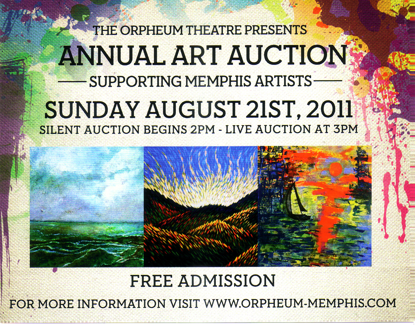 Orpheum's 17th Annual Art Auction, Sunday- August 21st