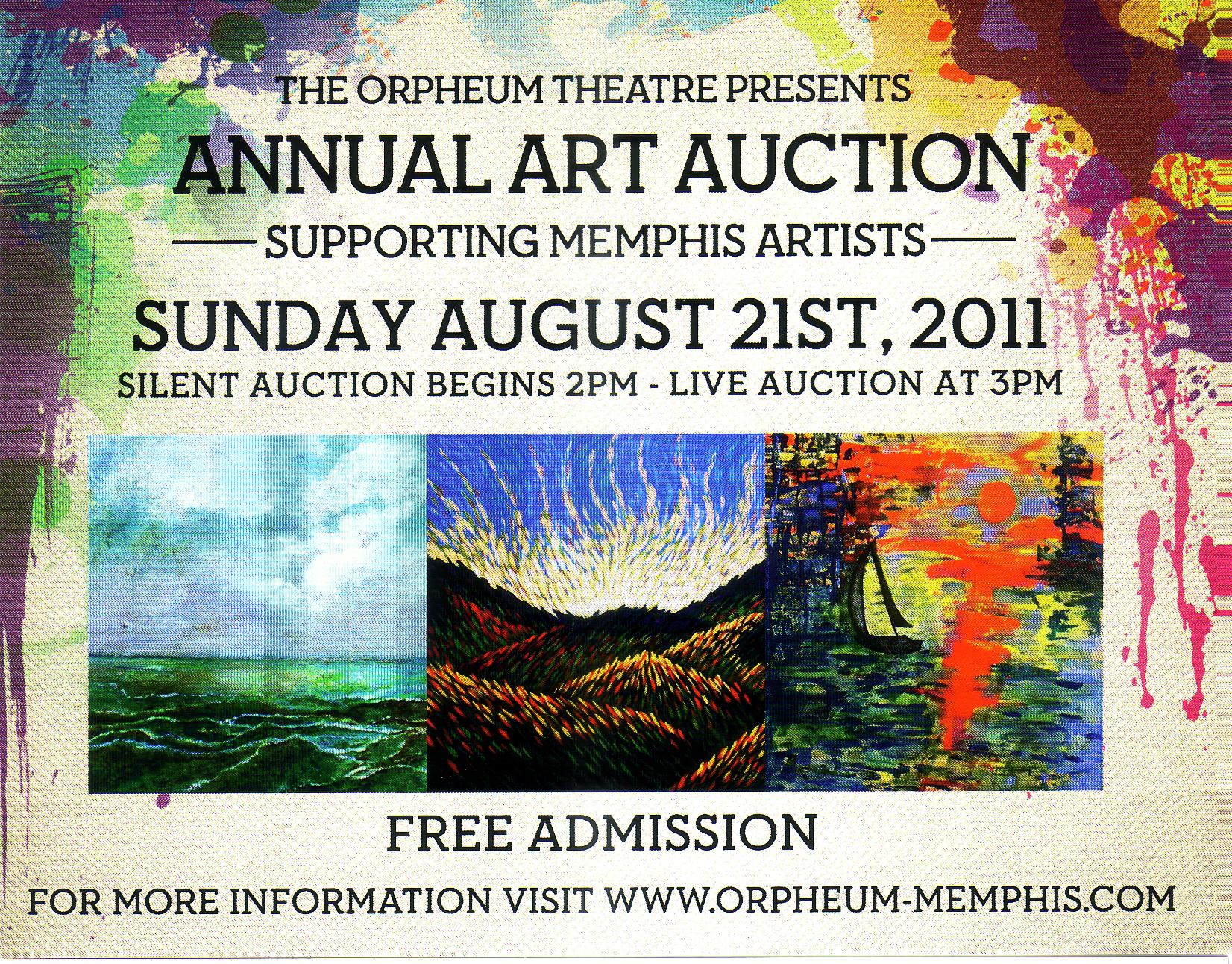 Orpheum's 17th Annual Art Auction, Sunday- August 21st