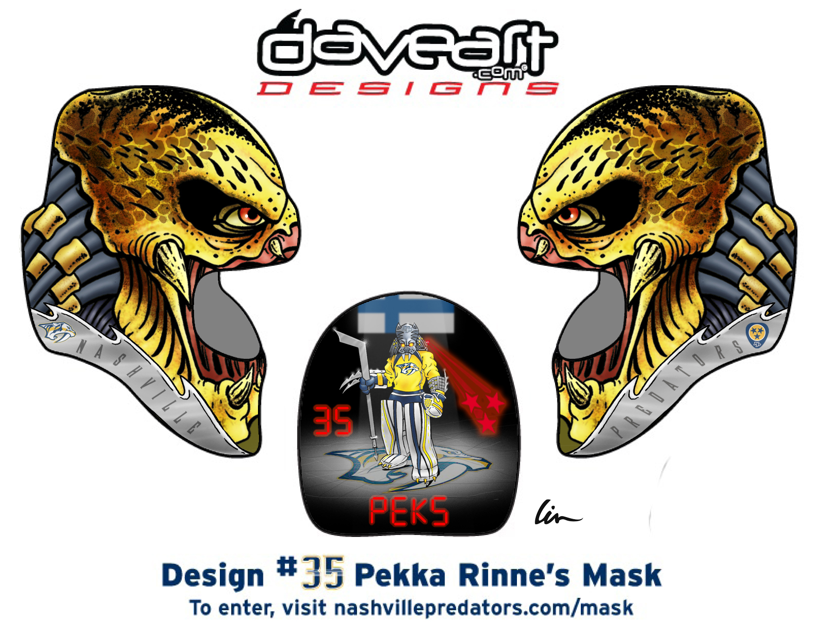 Predator hockey mask design contest pekka rinne as preda rinne i maxwellsz