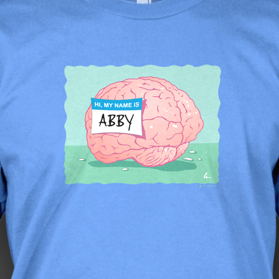 "Lin's t-shirt design ""Abby Normal"" now available on-line at World of Strange!"
