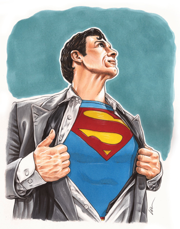 Off the drawing board and kitchen table- Superman Celebration art