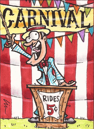 """""""There's a freakshow. Freakshow, baby, baby On the drawing board. It's just a freakshow!"""" Carnival Sketchcards"""