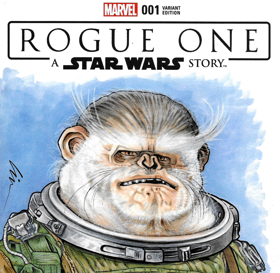 "Bistan- My Latest Star Wars ""Space-Monkey"" Sketchcover"