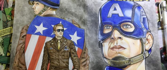 Drawn On The 4th Of July…Finished Sometime Later. My Latest Captain America Sketchcover